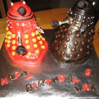 Dr Who - The Daleks   Carved cake, covered in fondant with skittles for decorations!