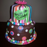 Polka Dots And Stripes Birthday Cake   A quick birthday cake with fondant polka dots and stripes
