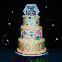 Tiered Birthday Cake With Edible Image Wraps  My daughter helped me design her 12th birthday cake by picking out scrapbook paper designs I scanned onto edible image paper and wrapped...