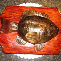 Mounted Fish Cake The board and fish are both yellow cake. The board was covered in fondant and then the wood grain was etched in with a fondant tool. Then I...