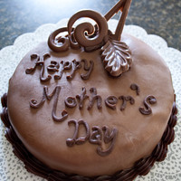 Chocolate Fondant Mother's Day Cake Chocolate fondant with ganache frosting and candy melt decorations