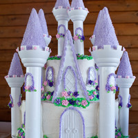 Princess Castle Cake The cake was iced in bc. The flowers were made in royal. The towers were rolled in royal and dipped in rock sugar.