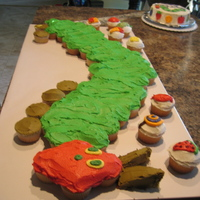 The Very Hungry Caterpillar Cupcake-Cake This was for a little girl's first birthday.