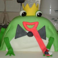 Frog Prince White cake with vanilla buttercream covered in fondant!