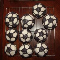 Soccer Balls I made some soccer ball cupcakes for my neighbors son's soccer team party.