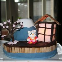 Hello Kitty And Fujisan Hello Kitty cake for our daughter's 16 birthday. base cake Vanilla with buttercream. Mt. Fuji is a carved chocolate cake with...