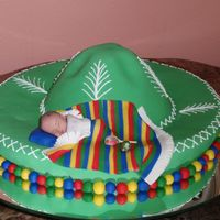 Sombrero Baby Shower Cake This cake is for a very good friend of mine. Gumpaste baby in the brim of a sombrero. Their party is mexican theme with all the bright...