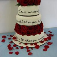 "Bible Verse Wedding Cake Got the idea for this cake from here. Thank you all for all the information and creative ""juice""!"