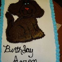 Dog Cake For my grandsons first birthday! I traced then iced then froze before transfer!