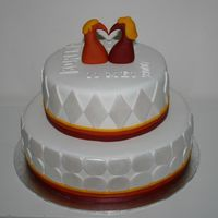 Wedding Cake This wedding cake has 2 birds made of marzipan on top, that form a heart.Exactly the same birds as on the wedding card!