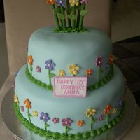 Flower Birthday Cake 2-tier vanilla birthday cake covered in fondant with fondant flowers.