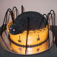 Imgp4223.jpg   Halloween spider cake. All buttercream. Spider legs are pipe cleaners.