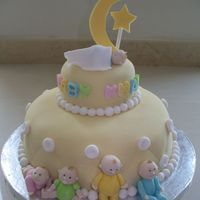 Baby Shower Cake Vanilla cake covered in fondant with fondant babies and accents.