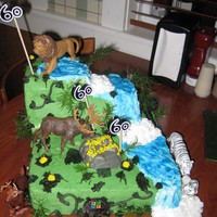 "60Th Birthday Cake Dad is very much into Geo-caching. There are ""coins"" hidden throughout the jungle."