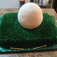 Golf Ball Grooms Cake This is our first ball cake and groom's cake. BC icing and real golf tees.