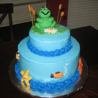 Frog Cake This is the first time I used fondant for a 3-D object. The icing is bc and the sealife is candy molds.