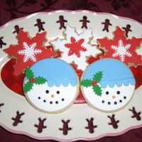 Snowman Faces And Snowflake Cookies These are decorated with fondant!