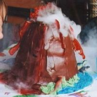 Volcano Cake I made this cake for my daughter's dinosaur birthday party. Two different sized dome cakes stacked, chocolate icing & homemade...