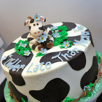 Cow Cake Fondant cow and accents on buttercream