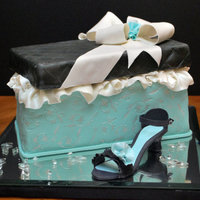 Diamonds On The Soles Of Her Shoes... Anniversary cake made to match theme of diamonds on soles of her shoes. Fondant covered, painted embossing, gumpaste shoe, isomalt diamonds...