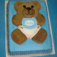 Baby Bear Cake   My 1st baby shower cake! All buttercream except the bib which is a runout.