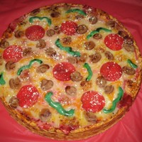 "Pizza Cake  14"" Butter cake, buttercream icing for crust & sauce, crust also painted with Wilton Ivory Gel, chocolate ganache cheese,..."