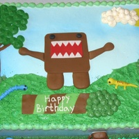 Domo Kun This was for a 14 year old boy's birthday. I had never even heard of this little Domo monster before this cake. Anyways it was a 18x12...