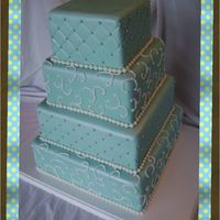 Tiffany Blue 4 Tier Wedding Cake 4 tier Tiffany Blue wedding cake covered in silver pearl dust.
