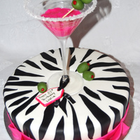 Martini Glass The client's daughter was turning 21 and she liked zebra print and hot pink.pink drink is royal icing with some piping gel on top to...