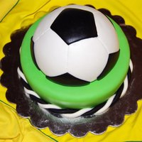 Soccer Ball Cake Chocolate Fudge covered in MMF