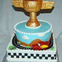 Piston Cake From Cars RKT Trophy, buttercream cake. Fondant car and details