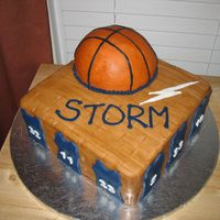 Basketball Party Team Cake Made for my son's end of season basketball team party.