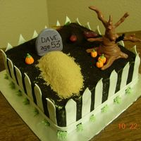 Fenced Graveyard I made this cake for a co-worker. Her boyfriends birthday is Halloween. I used oreo for the dirt and brown sugar for the grave. The tree,...