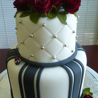 "Dummy Wedding Cake Mini version (6"" and 4"") of the wedding cake I did for my son's wedding. TFL!"