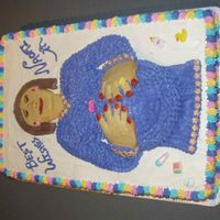 Pregnant Lady Cake  Everything is edible - hands and face are edible cookies although next time I would use fondant because when they baked they came out a...