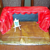Puppet Theater Stage My son's 2nd Birthday Cake - we had a puppeteer come to do a show so I made a cake of a puppet stage. Entire cake but for the easel is...