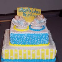 Twin Boys Cake Simple baby shower cake for twin boys
