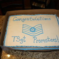 Tsgt Promotions Cake The cake. Have no idea what kind of cake, I didn't make it. Just decorated.