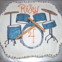Riley's Drums Cupcake Cake Image is a FBCT. All buttercream. 24 funfetti cupcakes.