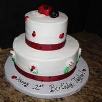 Ladybug 1St Birthday   My husband's troop emailed me a picture she found on Pink Cake Box. Here is my replication. Marble cake, vanilla bc.