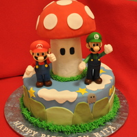Super Mario Bros Cake Thanks to KimmysKakes for the inspiration for this cake. This was my first cake using molded rice krispie treats covered in fondant! Its a...