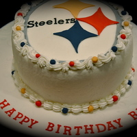 Steelers Birthday Cake I made this cake for one of my best friends birthday. It was a marble cake with Sugarshack's buttercream frosting and fondant accents...