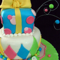 Whimsy Birthday Cake Inspired by the many colorful cakes I've seen. This was my first fondant covered square. YIKES!