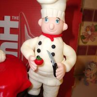 "Happy Birthday To The Chef! Close-up of fondant Chef. First ""figurine"" attempted. Taught myself a few lessons(the hard way)! Inspired by Glor08."