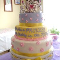 Princess Baby Shower Buttercream, WASC cake, 3 fillings: lemon curd, strawberries & cream, and pineapple. Sorry, I take lousy photos! I'll find the...