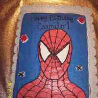 Spiderman   chocolate cake with buttercream icing. added those candy things you find in the bakery isle. made this from my nephew who was turning 5.