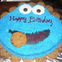 Cookie Monster Cake  This was a chocolate cake w/ BC icing made with a chocolate chip cookie border. I cut this cake out freehand out of my largest square pan...