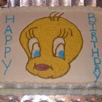 Tweety Bird Birthday Cake Drew tweety bird free hand. Made this cake for my nephew whose nickname is Birdie. Pan used was 12x18 sheet. All done with buttercream