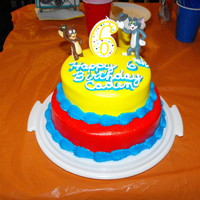 "Tom And Jerry 8 & 6"" round funfetti cake iced with BC and airbrushed colors trimmed in Blue BC. The Jerry kept falling backwards so we had to..."