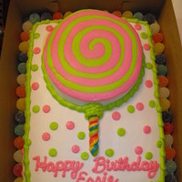 "Lollipop Cake With Gumdrops This was a Lollipop Shop themed Party so the cake had to have gumdrops and a lollipop. 1/2 sheet with a 9"" round for the lollipop and..."